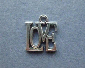 10 Love Charms - Love Pendants - Love - Word Charms - Antique Silver - 15mm x 13mm  --(U8-12111)