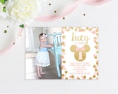 Minnie Mouse First Birthday Gold and Pink Glitter Photo Invitation Birthday Party Invite