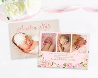 Double Sided Watercolor Floral Baby Girl Birth Announcement, Pink Floral Announcement, Baby Announcement, Printed Announcement