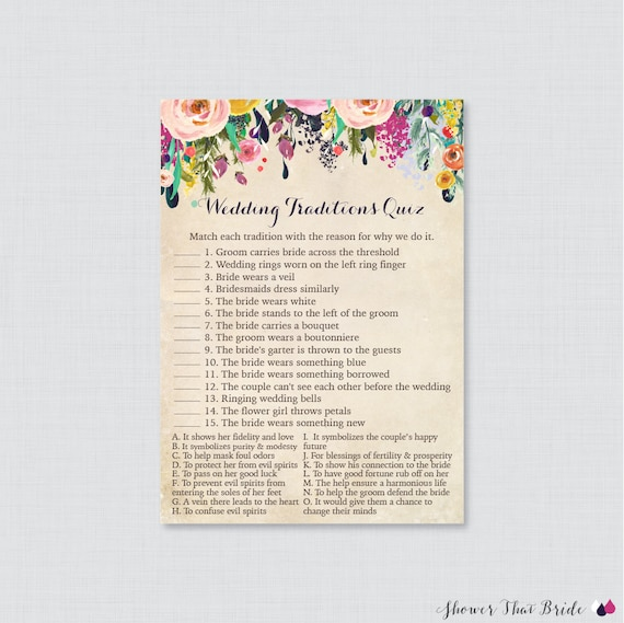 Celebrity Wedding Trivia Questions: Floral Wedding Traditions Quiz Printable Colorful Flower