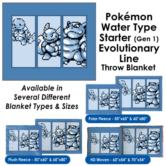 Pokemon water type starter gen 1 evolutionary line throw for Different types of water lines