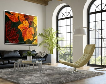 Large Wall Art Fall Tree Rustic Painting, Wall Prints of Autumn Leaves from Original Canvas Art Painting Fall Leaves, Tree Painting