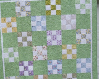 """Quilt, handmade, 61"""" x 61"""" lap quilt in green and florals"""