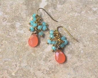 coral jade and aquamarine earrings - peachy pink and seafoam blue