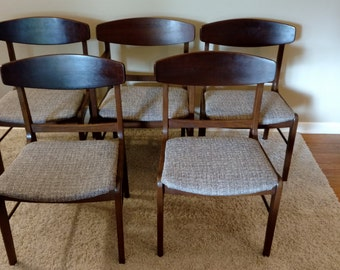 Mid Century Danish Modern Set of Five Teak Stanley American Forum Collection Dining Chairs