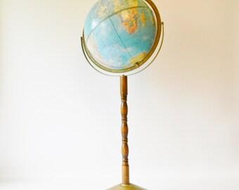 Vintage Globe on Wood Pedestal / Vintage Floor Globe