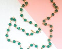 SWAROVSKI Vintage Swan Signed Crystal Emerald Green Bezel Necklace (1980s)