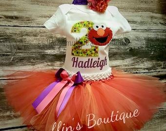 Elmo birthday outfit, Elmo birthday set, Elmo tutu outfit