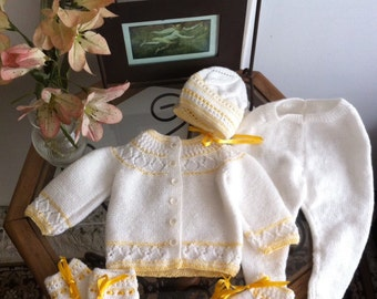 Hand knitted baby set white and yellow for newborn with sweater, leggins, booties and mittens