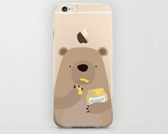 Bear Eating Honey iPhone 6 Case iPhone 6s Bears and Cute Adorable Animal on Clear Transparent Phone Cover Grizzly Kodiak Bear iPhone Cases