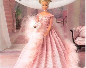 Socialite Ballgown, doll gown pattern fits Barbie dolls. Design by Mae Meats, Annie's Attic fashion doll thread crochet pattern 870617.