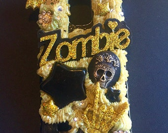 FREE SHIPPING Samsung Galaxy Note 4 Decoden Phone Case- Zombie Gold Skeleton Skull Goth Gothic Rockabilly Psychobilly Horror Creepy Cute