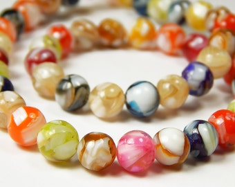 7-1/2 Inch Strand - 8mm Multicolor Mother Of Pearl Shell Beads - Shell Beads - Multicolor Beads - Jewelry Supplies