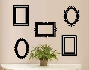 Frames: Multiple Shapes  Qty 5 - Wall or Window Decals