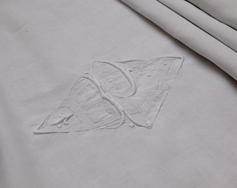 Pure Linen French Antique Embroidered Bedsheet - PE monogram