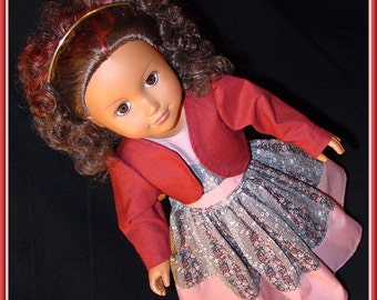 "Doll Dress n Jacket for American Girl Doll Clothes & 18"" Style Dolls. Dusty Rose Dress w Burgundy Jacket! School, Dress Up or Fantasy Play"