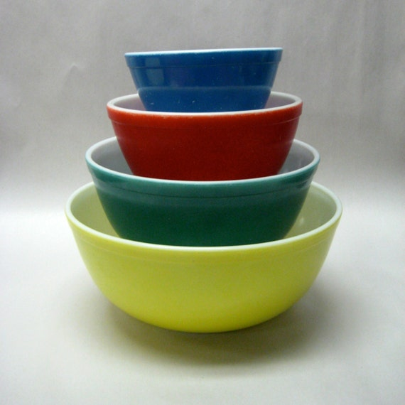 Pyrex Primary Colors Nesting Vintage Mixing Bowls By