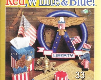 Patriotic Projects for Plastic Canvas, Red, White & Blue Projects, American Eagle, Country Flag Sampler, 33 Patriotic Projects Year Round