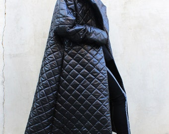 Long Quilted Jacket/Warm Waterproof Trendy Jacket/Asymmetrical Fashion Jacket/Plus Size Jacket/Winter Outerwear by FRKT C0001