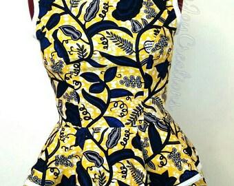 African Clothing:  Mia African Print Peplum Top