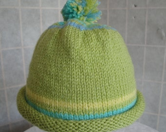 childs green beanie, boy/girl pompom cap, green beanie hat, stripy child's beanie, acrylic knit hat, roll brim hat, lime/aqua/blue beanie