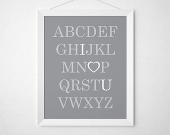 ABC I Love You, Printable Alphabet, Gray Nursery Decor, Playroom Art, Alphabet Nursery, Alphabet Print, Nursery Art, Alphabet Poster, ABCs