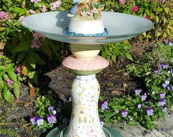Blue jay Birdbath/Birdbath/Yard art/Garden art/Cottage garden/English garden/Up cycled yard art/Pink/Blue/Yellow/Glass yard art/Figurine