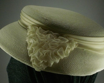 Vintage Ivory Raffia, Straw, Woven Hat with Ruffles - 1950's