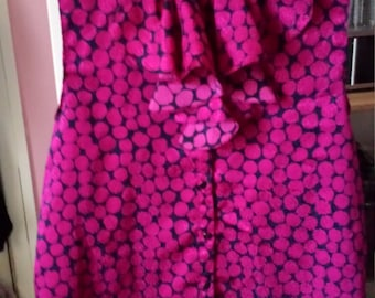 Pink Polka dot silk frill collar Blouse Small  Kitsch 80s patterned