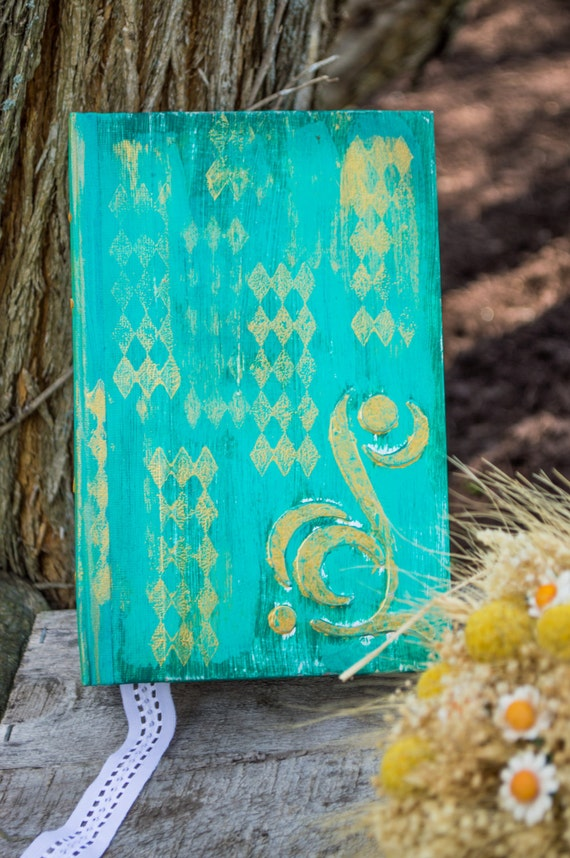 Gold Accent Wedding Guest Book Album ~ weathered and rustic Aqua Blue and gold details - 84 pages - READY TO SHIP