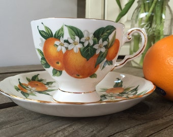 "Unique ""Florida"" edition Tuscan teacup and saucer set"