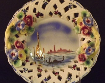Majolica Plate with Applied Flowers