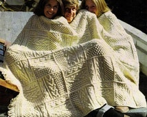 Instant Download PDF Vintage Row by Row Knitting Pattern Superb Granny Square Irish Aran Fisherman's Afghan Blanket Throw or Rug 52 x 68""