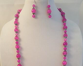 Pink Necklace - Long Pink Necklace - Long Necklace - Women's Pink Jewelry - Pink Earrings - Pink Jewelry - Women's Long Necklace-Jewelry Set