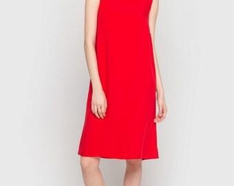 Summer Dress Cotton Dress Red Dress Knee Length Loose Dress Casual Dress Cotton Tank Dress