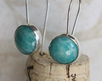Sterling Silver Earrings, Amazonite Earrings, Gemstone Earrings, Sterling Silver Earrings, Everday Earrings, Dangle Earrings, Blue Earrings