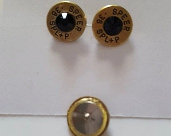 Just for her - .38 Special Post earrings Black Crystal Center