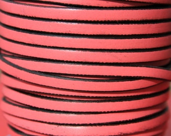 MADE in SPAIN 1 yard of 5mm flat leather cord, 5mm flat pink leather cord, leather cord for jewelry, 5x2mm leather cord (VM5FUC)