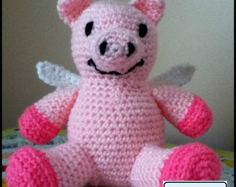 PDF Pattern for Crochet Amigurumi Pig with Wings Doll