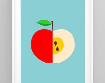 Kitchen Print, Mid Century Modern, Scandinavian Print, Kitchen Decor, Apple Print, Retro Poster, Kitchen Wall Art (R006)