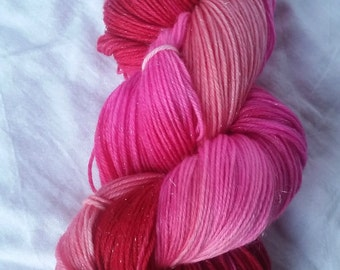 Kiss Me - Sparkle Sock - Hand-Dyed / Hand-Painted Yarn - Superwash Merino Wool, Nylon, Stellina - Ready to Ship