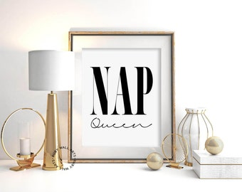 nap queen print bedroom print nap sleep quote poster wall art - Home Decor Tumblr