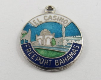 Enameled Charm of El Casino in Freeport Bahamas Sterling Silver Charm or Pendant.
