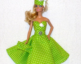 Handmade dress with hat for Barbie doll