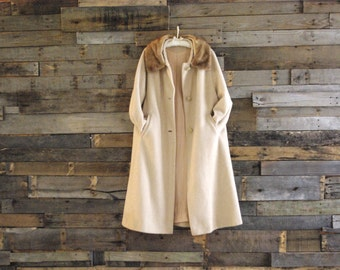T*L*C* S-A-L-E Vintage Swing Coat Fur Collar Size 16 Free Us Standard Shipping
