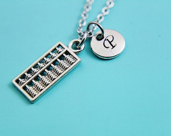 Abacus Pendant Charm Necklace, Silver Abacus Charm with Initial Letter Charm Necklace, Monogram Charm,Personalized Jewelry