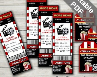 Movie Party Invitations & Free Favor Tags. Editable PDF. Printable. Instant Download.
