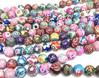 "8mm Round Flower Polymer Clay Beads Full 16"" Strand"