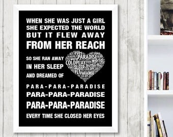 Coldplay Paradise Music Love Song Lyrics Word Art Print Poster Memorabilia Heart Design Wall Decor Framed Picture  Gift Free UK Post