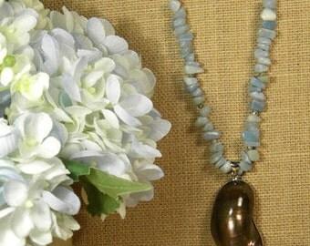 Amazonite, Purple Shell Pendant Necklace on a Antique Cooper Chain